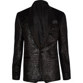 River Island Big And Tall  - Blazer Skinny gris Effet Peau De Serpent