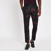 River Island Pantalon De Costume Skinny à Fleurs Noir