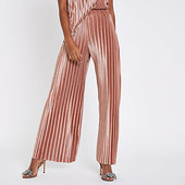 River Island Pantalon Large En Velours plissé rose