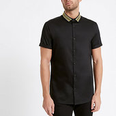 River Island Black Gold Embroidered Collar Shirt