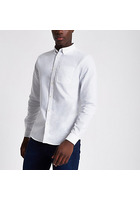 River Island Chemise Oxford Manches Longues Casual Blanche