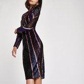 River Island Robe Moulante Violet Vif à Sequins Et Encolure Haute