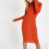 River Island Mini-robe Moulante Orange à Encolure Drapée