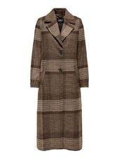 Only Long, Carreaux Manteau Women Brown