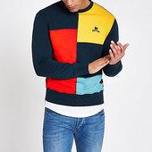 River Island Money Clothing ‒ Sweat Bleu Marine Effet Colour Block