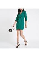 River Island Mini-robe Portefeuille Smoking Moulante Vert Foncé