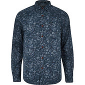 River Island Pepe Jeans - Chemise Boutonnéeimpriméfleuri Bleue