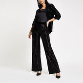 River Island Pantalon Large En Velours Noir à Sequins
