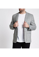 River Island Big And Tall - Blazer Gris Teinté