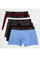 River Island Lot De Boxers Longs Bleus Multicolores