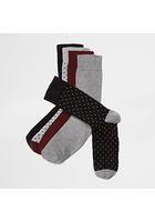 River Island Big And Tall - Lot De Paires De Chaussettes Motif Flèche Bordeaux