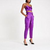 River Island Pantalon En Satin Violet à Taille Haute Ceinturée