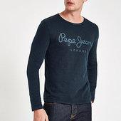 River Island Pepe Jeans - T-shirt Bleu à Manches Longues