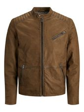Jack & Jones Classique Veste En Cuir Men Brown