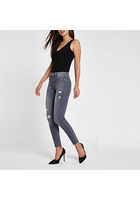 River Island Molly - Jegging Skinny Gris Déchiré