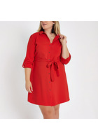 River Island Plus - Robe Chemise Mi-longue Rouge