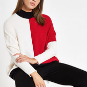 River Island Pull En Maille Côtelée Colour Block Rouge