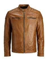 Jack & Jones Minimaliste Veste En Cuir Men Brown