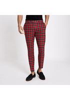 River Island pantalon Court Skinny Motif écossais Rouge