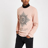River Island Sweat Slim « Seize The Day » Rose