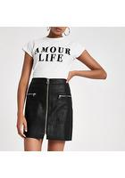 River Island Mini-jupe Noire à Poche Zippée Style Biker