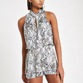River Island Combi-short Imprimé Serpent Gris à Superpositions Et Col Montant