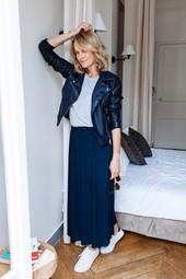 Jupe Longue Plissée Bleu Femme Taille 38 - Scottage