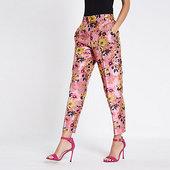 River Island Pantalon Droit En Jacquard Fleuri Rose
