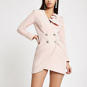 River Island Light Pink Bodycon Ruffle Tux Mini Dress