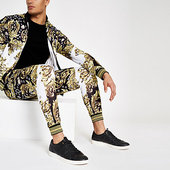 River Island Jaded - Pantalon De Jogging à Imprimé Baroque Noir Avec Pierreries