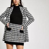 River Island Mini-jupe En Maille Bouclée Noire Bordée De Velours