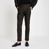River Island Green Camo Skinny Fit Smart Trousers
