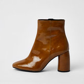 River Island Bottines En Cuir Brillant Marron à Talon Rond