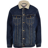 River Island Lee - Big & Tall - Veste En Jean Bleue Imitation Mouton