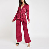 River Island Pink Jacquard Wide Leg Trousers