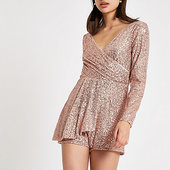 River Island Rose Gold Sequin Wrap Front Playsuit