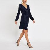 River Island Mini-robe Portefeuille Plissée Bleu Marine