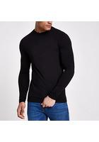 River Island T-shirt Noir Ajusté à Manches Longues