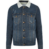 River Island Only & Sons - Veste En Denim Bleue Avec Col Imitation Peau De Mouton