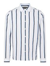 J.lindeberg Pique Mixed Stripe Slim Chemise Men White