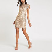 River Island Forever Unique - Robe Moulante En Dentelle Beige