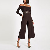 River Island Combinaison Marron Foncé Coupe Large à Encolure Bardot