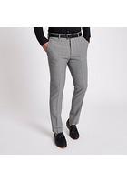 River Island Pantalon Slim à Carreaux Prince De Galles Gris