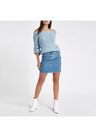 River Island Mini-jupe En Denim Bleu Moyen Ornée De Clous