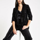 River Island Black Sequin Stripe Open Front Blazer