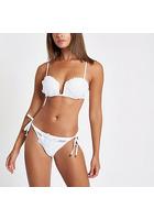 River Island Bas De Bikini Blanc à Appliqué Fleuri Noué Sur Les Côtés