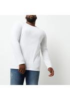 River Island T-shirt Big & Tall Blanc à Manches Longues