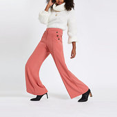 River Island Pantalon Large Rose Boutonné