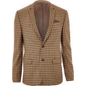 River Island Blazer Super Skinny à Carreaux Marron