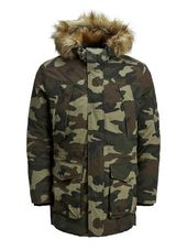 Jack & Jones Capuche Doublée De Fourrure Synthétique Parka Men Green